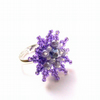 Purple Silver Flower Ring