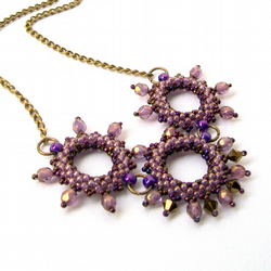 Purple & Gold Bead Woven Necklace - 'Amethystine'