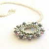 'Halo' Beadwoven Necklace Pendant in Silver/Grey