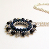 'Halo' Beadwoven Necklace Pendant in Midnight