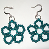Frosted Teal Daisy Earrings