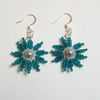 Teal Flower Burst Earrings