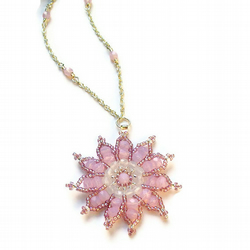 Gazania Flower Necklace - Pink