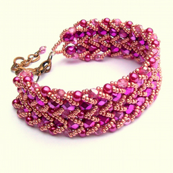 Pink and Gold Crystal Cuff Bracelet