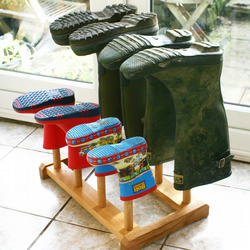 6 Pair Oak Welly stand