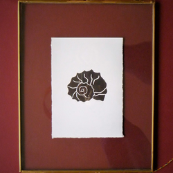 Original A6 Shell lino print in black