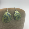 Lime green and navy blue anodised aluminium hand printed dangly earrings