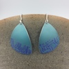 Turquoise hand printed anodised aluminium dangly earrings.