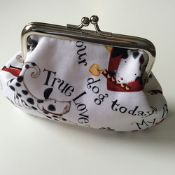 Cute dog print metal frame coin purse