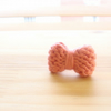 Coral Knitted Tiny Mini Bow Tie Ring