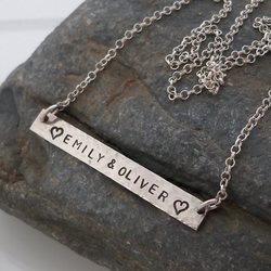 Sterling silver necklace with personalised bar. Stamped with your name. PT200481