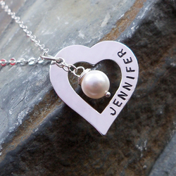 Valentine's necklace with a personalised heart charm & Pearl. Ref. PT 2004-57