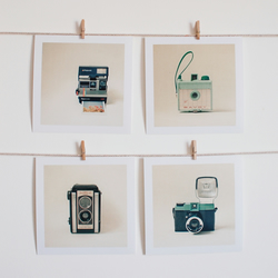 "Set of Four 5x5"" Mini Prints - Camera Collection"