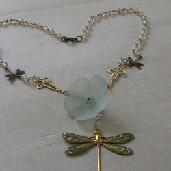 Art Nouveau Style Lily and Dragonfly Necklace