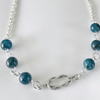 Apatite semi precious necklace with sterling silver rope connector