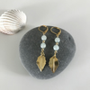 Amazonite gemstone earrings with gold plated leaves