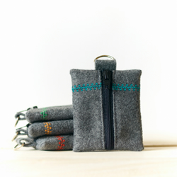 Vegan Felt Keychain Coin Pouch Eco Friendly - Turquoise