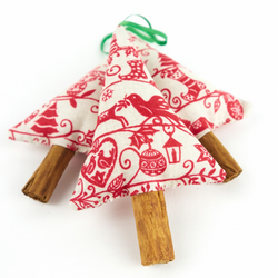 Cinnamon Trees in Scandinavian Christmas Fabric Set of 3