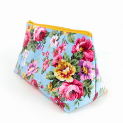 Large Toiletry Bag in Floral Oilcloth Fabric