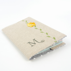Passport Cover with Crochet Flower Personalised Monogrammed Gift