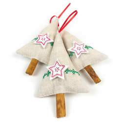 Rustic Christmas Trees with Cross Stitching and Stars - Set of 3