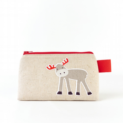 Small Moose and Bird Cosmetic Bag