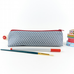 Pencil Case in Denim Blue Star Fabric Gift for Boys