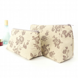 Set of Two Floral Linen Toiletry Bags