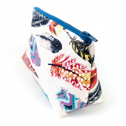 Small Cosmetic Bag in Bohemian Style Feather Print Fabric