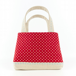 Little Girls Tote Bag in Red Polka Dot Linen