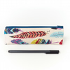 Pencil Case in Bohemian Style Feather Fabric Back to School