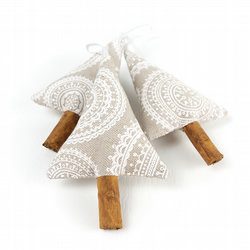 Neutral Christmas Decor - Set of 3 Cinnamon Stick Christmas Tree Decorations