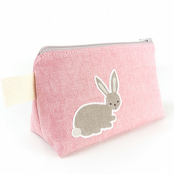 Animal Makeup Bag with Bunny Rabbit and Squirrel - Gift for her