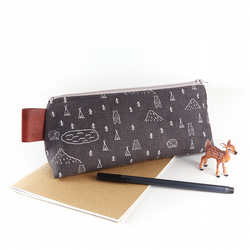 Forest TeePee Large Pencil Case Grey Hipster Men's Bag Stand Up Zipper Pouch