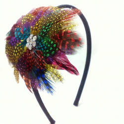 Multicoloured Feather Headband