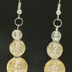 peachy clear rose design earrings