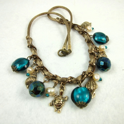 Vintage Pearls, Teal Glass and Sea Charm Necklace