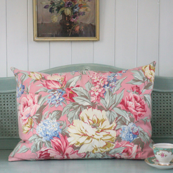 Large Vintage Pink Floral Pillow Cushion