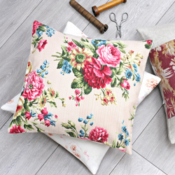 Dusky Pink Vintage Floral Fabric Cushion