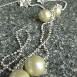 'Blonde' shell pearl and sterling silver necklace
