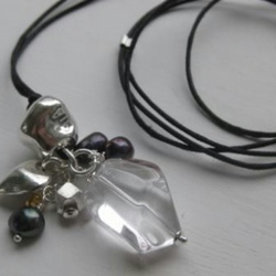 'Darkness' - deep purple pearls, sterling silver, rock crystal and gold vermeil