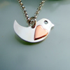 Little Robin with heart red breast pendant