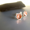 Silver & Copper inverted domed stud earrings ARC jewellery
