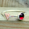 Garnet skinny ring with heart