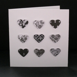 Black and white hearts greetings card