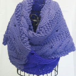 Women's Lavender and Purple Chunky Cable Scarf