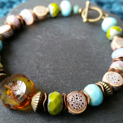 Ceramic and Glass Bead Bracelet with Toggle