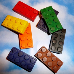 Lego Brick Handmade Crayons / Art Building Blocks / Recycled - set of 8