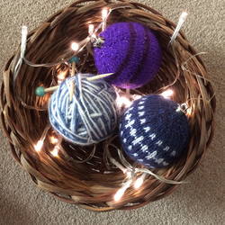 Knitted baubles purple and blue theme