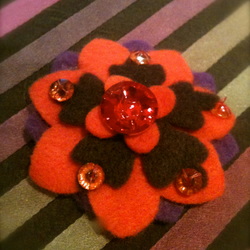 Felt flower beaded hairclips